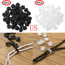 More Plastic Cord Lock End Toggle Double Hole Spring Stopper Fastener Slider Toggles End for Drawstrings Clothing 20Pcs