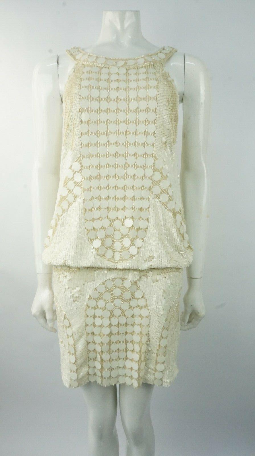 AMANDA WAKELEY Cream Sequin Tiered Dress Size 10 UK