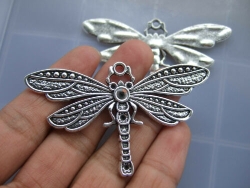 2 x Tibetan Silver Large Dragonfly Charm Pendant Blank For Jewelry Supplies 72mm