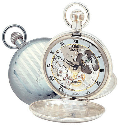 Antique Jewelry & Watches Woodford Sterling Silver Swiss 17 Jewel Mechanical Twin Lided Pocket Watch 1065