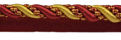 """Burgundy Red Gold 4//16/"""" Decoractive Lip Cord Royal Romance By The Yard"""