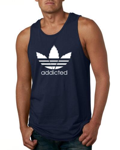 Addicted Pot Leaf Mens Weed Tank Top Marijuana Muscle Shirt