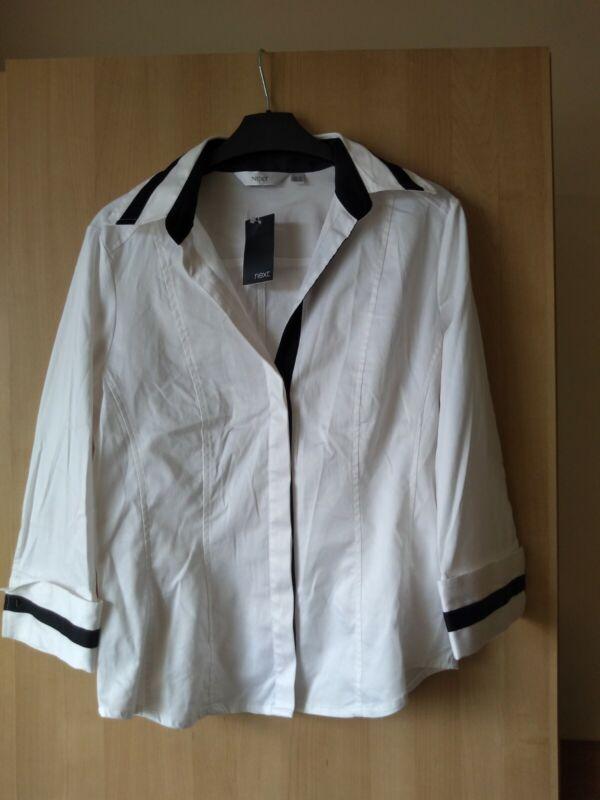 Next Cotton Stretch Long Sleeve Smart Shirt - White Mix - Size 12 - Bnwt High Quality Materials
