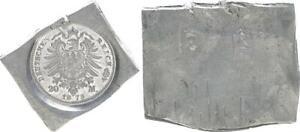 Preusen-Prusse-20-Mark-Klippe-Bleiabschlag-le-Arriere-un-20-Mark-Piece-Vz-St