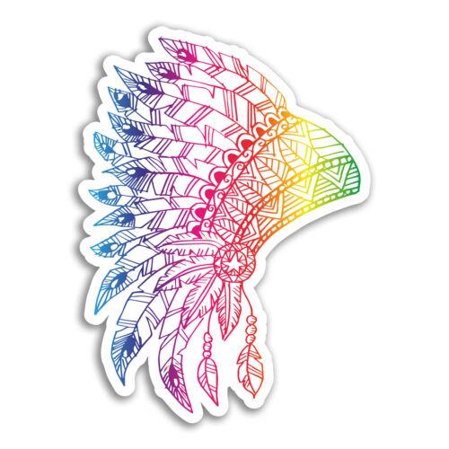 2 x 10cm Indian Headdress Vinyl Stickers Tribal American Sticker Laptop #18382