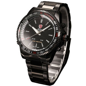 SHARK-Men-039-s-LED-Digital-Date-Day-Alarm-Stainless-Steel-Quartz-Sport-Wrist-Watch