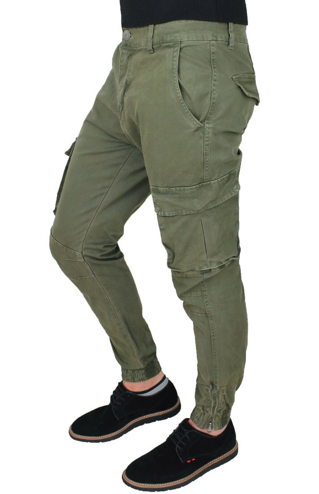 PANTALONI men DIAMOND CARGO green MILITARE SLIM FIT CON TASCONI LATERALI