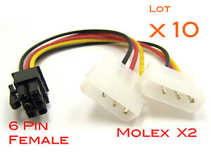 Lot-10-Cables-alimentation-graphic-card-Molex-4-Pin-to-6-pin-PCI-E-adapter-Power