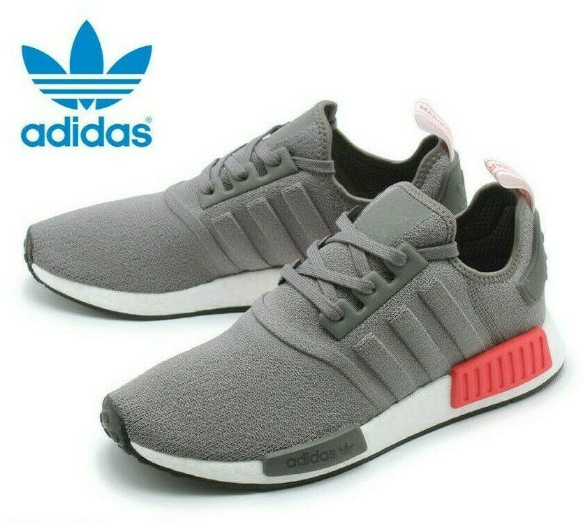 Adidas Originals NMD R1 Grey Four Shock Red White Boost BD7730 Men's US 10 Shoes