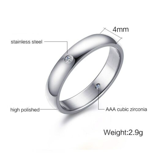 4 mm Argent//Or Double CZ Stones Band Femme 316 L Bague acier inoxydable Taille 6-10