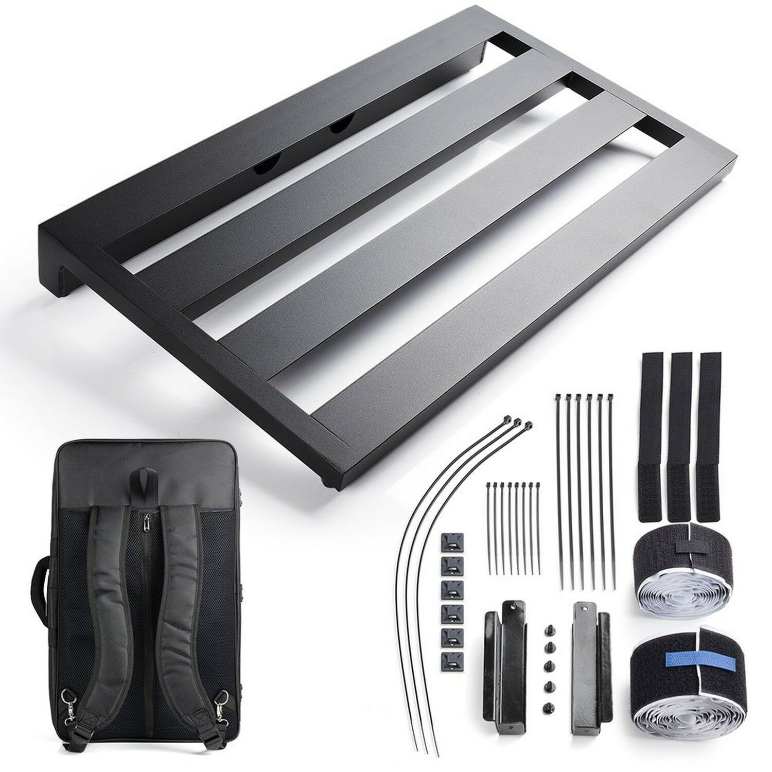 """Vangoa- Aluminum Guitar Pedal Board 22"""" x 12.6"""" x 2.36"""" with Carry Bag and Po..."""
