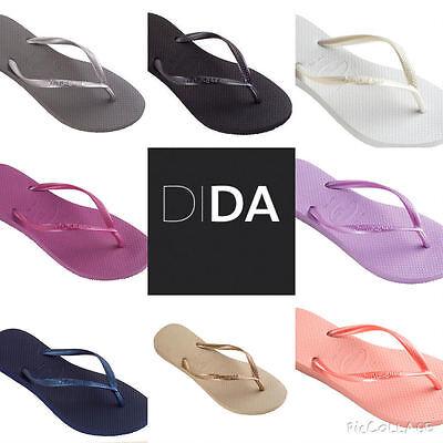 Havaianas Slim Black/Gold/White/Silver/Pink/Blue Women's Flip Flops all sizes