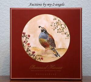 NEW Pottery Barn Thanksgiving Fall BOTANICAL HARVEST BIRD Dinner Plates SET/4