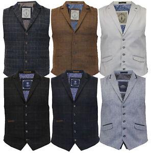 Mens-Waistcoat-Wool-Mix-Cord-Cavani-Formal-Vest-Herringbone-Tweed-Check-Party
