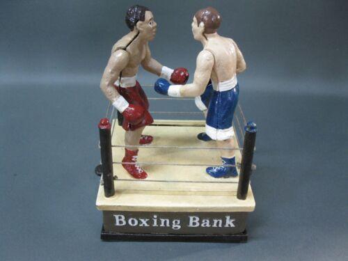 Gusseisen Spardose im Antikstil  Boxring Boxer  Mechanische Sparbüchse Boxsport