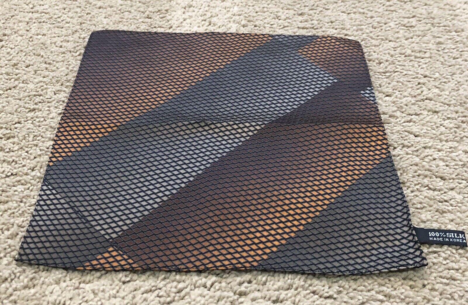 """100% Silk Hand Rolled Hem 10"""" Copper & Black Pocket Square Made In Korea VGUC"""
