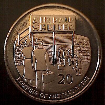 "20 Cent Coin 2012 Shores Under Siege /"" Bombing of Australia 1942 /"" 20c UNC"