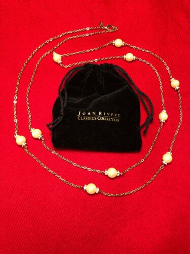 """Vintage Joan Rivers Faux Pearl 60"""" Chain Necklace"""