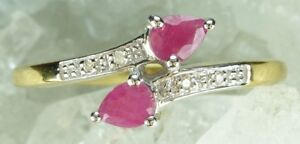 NEW-9CT-Plated-Solid-925-Sterling-Silver-Natural-Ruby-amp-Diamond-Ring-Sz-P-P1-2