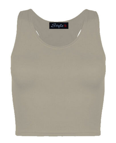 Ladies Gym Party Causal Fitted Sporty Racer Back Crop Top Womens Muscle Vest Top