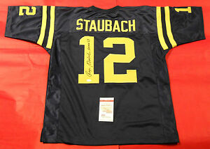 0800218ecf9 Image is loading ROGER-STAUBACH-AUTOGRAPHED-RARE-NAVY-JERSEY-HEISMAN-039-