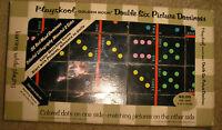 Vintage 1961 Double 6 Picture Color Dots Wood Dominoes Playskool Golden Book
