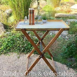 Retro-Wood-amp-Metal-Butlers-Tray-Table-on-Stand-Removable-Tray-Side-Table-Bedside
