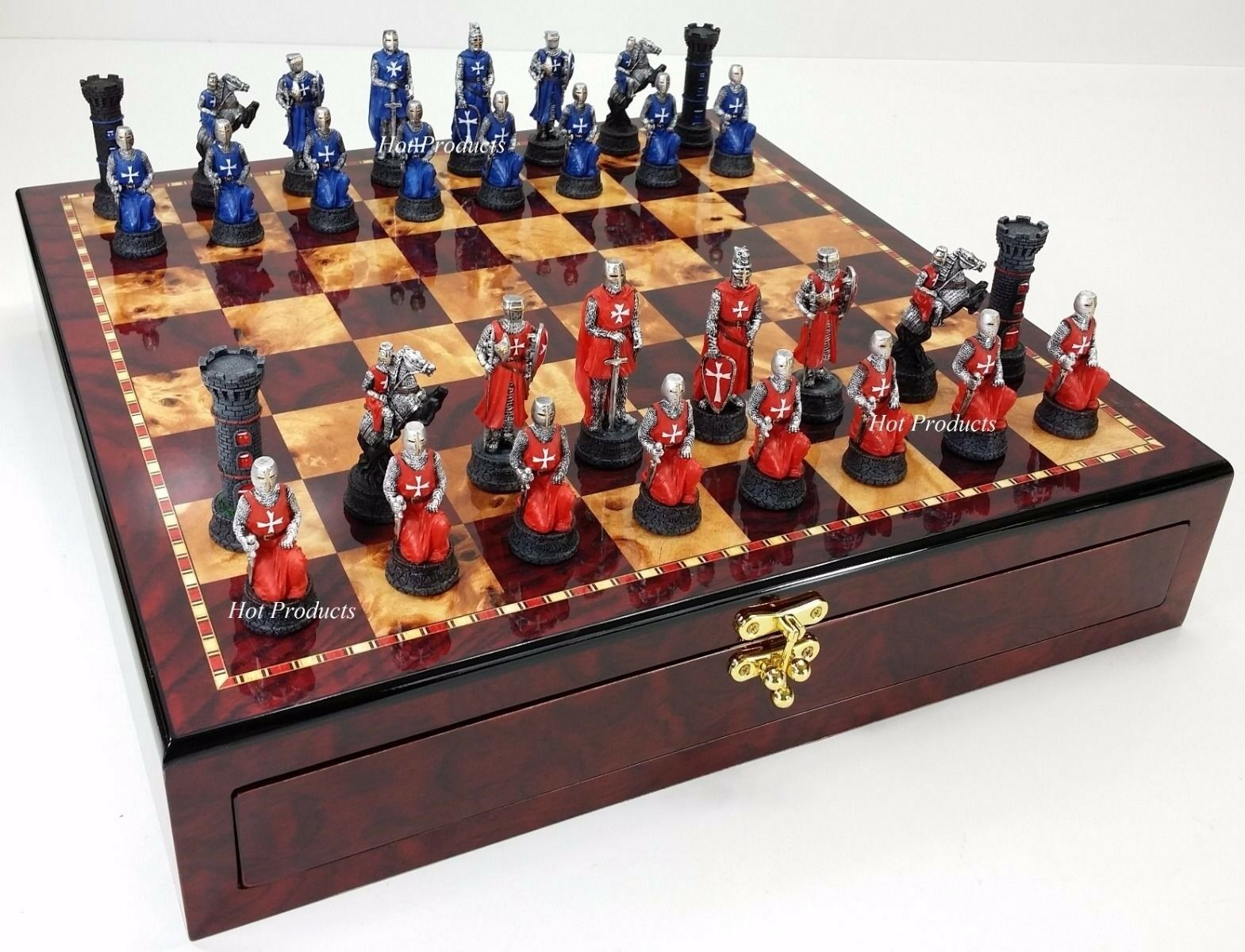 Moyen âge croisades  rouge & bleu Knights Chess Set cerise couleur de conservation Board  distribution globale