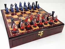 Medieval Times Crusades Red & Blue Knights Chess Set Cherry Color Storage Board