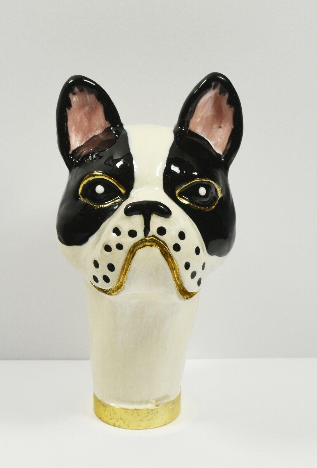 Lovely French Bulldog Head Figural Umbrella / Parasol Handle