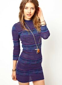 9f00f2d798ff9f Free People Teal Jewel Boho Chic Groovy Sweater Knit Body Con Dress ...