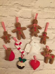 Details About Handmade Felt Christmas Garland Gingerbread Man Reindeer Etc Any 5 Items 16 95