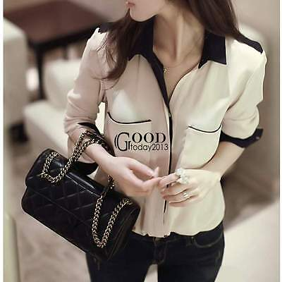 Korean Fashion Women's Loose Chiffon Tops Long Sleeve Tee Shirt Casual Blouse
