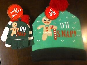oh snap ugly christmas sweater light up beanie hat pop top gloves gingerbread