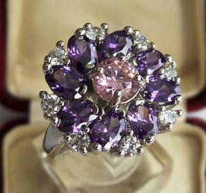 Magnifique-Bague-Fleur-En-Argent-925-Amethyste-Topaze-Rose-et-Diamants-CZ-T-57