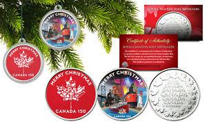CHRISTMAS-Canada-150-Anniversary-RCM-Canada-Medallions-XMAS-Capsules-Set-of-2
