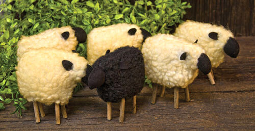 New Primitive Rustic Country Grungy Wool Black Sheep Set 6 Doll Figurine