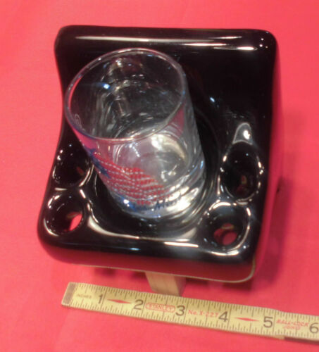 *Glossy Black* Ceramic Toothbrush /& Tumbler Cup Holder;  New Stock Mint