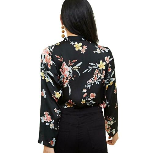 Ex New Look Black Floral Wrap Leotard Bodysuit Body Top Size 6 8 10 12 14 16