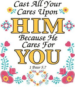 Details about Cast Cares On Him Shirt, 1 Peter 5:7, bible verse shirt,  ladies, Small - 5X