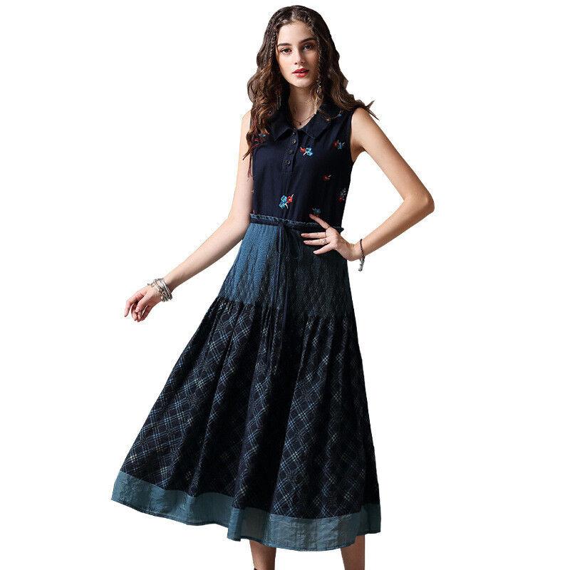 Damen Ärmellos Retro Maxi Kleid Sommer Trägertop Kleid Jeanskleid Denim L03