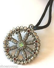 Briar Dharma Pewter Symbolic Pendant Charm, DHARMA WHEEL, eightfold path
