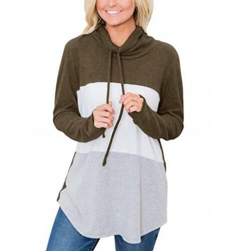 Womens Colour Block Hoodies Long Sleeve Pullover Ladies Drawstring Jumper Tops