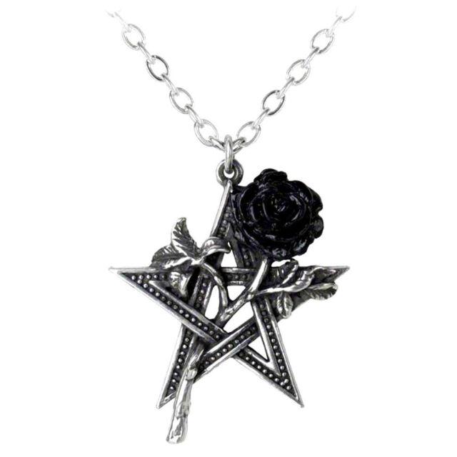 Alchemy Gothic Pewter Ruah Vered Black Rose Pentagram Star Pendant Necklace P715