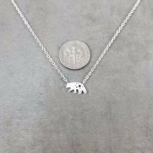 Grizzly Bear Silver Plated Necklace in Gift Box California Animal Kodiak North