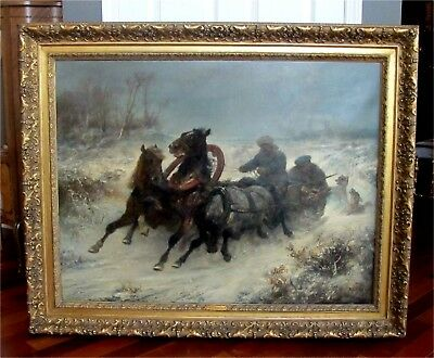 """Antique Oil Painting """"Troika Attacked by Wolves"""" Adolf Schreyer 1868 Museum"""