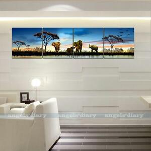 Large-Elephant-Dusk-Lake-Unframed-Picture-Wall-Art-Painting-On-Canvas-Poster