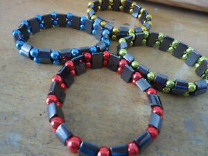 Black-Non-Magnetic-Hematite-Stretch-Bracelets-with-Colored-Beads-HE-BR22