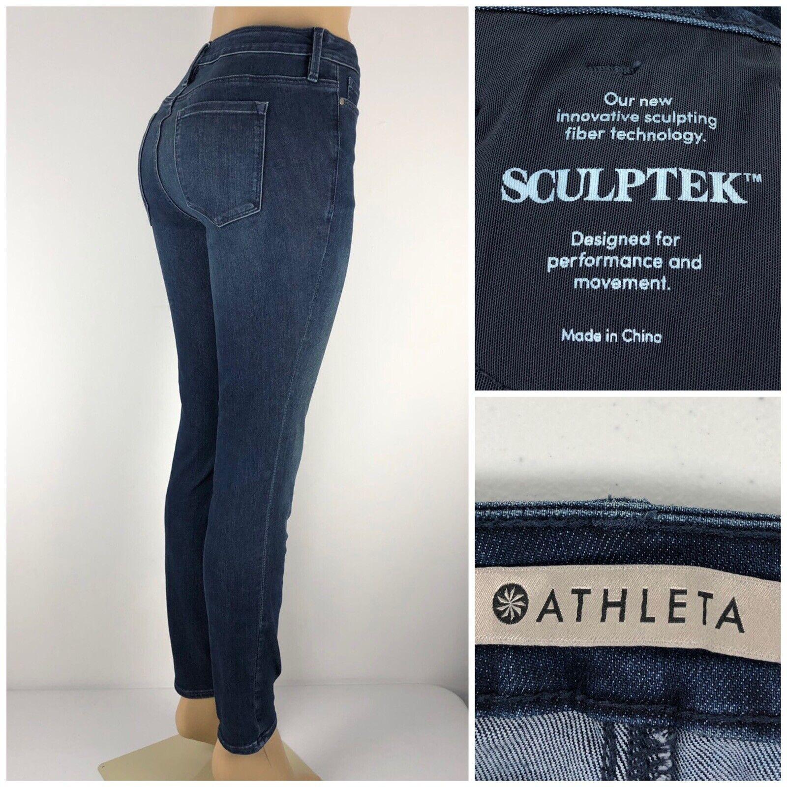 Athleta sculptek Jeans 4 en Coton Mélangé Stretch Dark Wash Skinny Slim