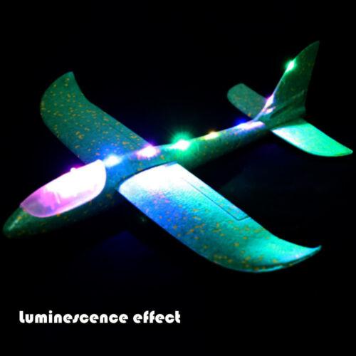 Fun Foam Throwing Glider Airplane Inertia LED Aircraft Toy Hand Launch Airplane